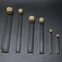 12 قطعة/الوحدة 18*180 مللي متر أنبوب اختبار من الزجاج المسطح مع سدادات الفلين لأنواع اختبارات المختبر المدرسي