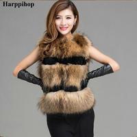 2017New Fashion Winter Lady Natural Raccoon Fur Vest Women's Real Genuine Fur Leather Jacket Overcoat Girl's Fox Fur Vest Coat