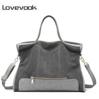 LOVEVOOK טלאי מותג אופנה באיכות גבוהה תיק כתף נשית תיק רטרו עור פיצול גבירותיי tote bag עבור עבודה במשרד