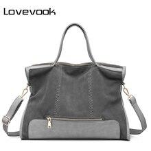 e70e8edec899 LOVEVOOK brand fashion female shoulder bag high quality patchwork split  leather retro handbag ladies tote bag for office work