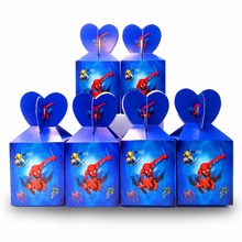 6pcs/set Spiderman Party Supplies Paper Candy Box Kids Birthday Baby Shower Decorations Spiderman Birthday Party Supplies Blue 1