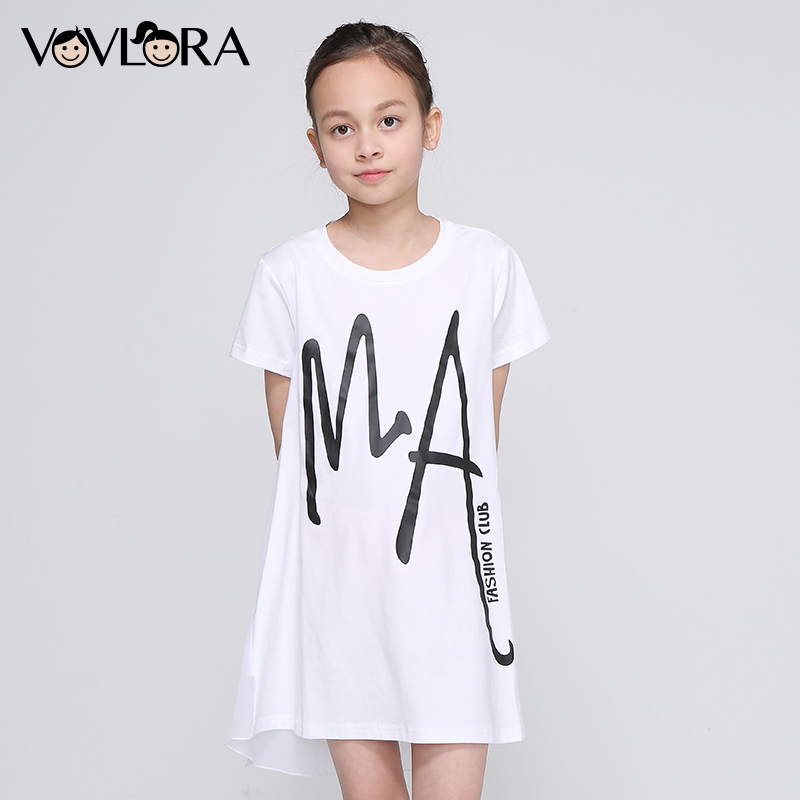Girls T Shirt White Patchwork Chiffon Tops Print Letter Kids Cotton T Shirt Loose O Neck Summer 2018 Size 9 10 11 12 13 14 Years