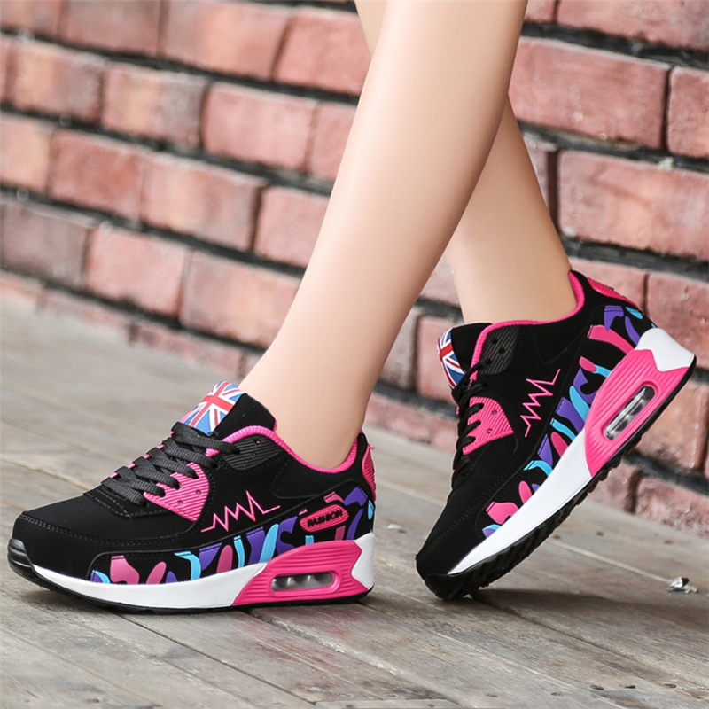 2018 New Fashion Sneakers Women Air Cushion Shoes Tenis Feminino Casual Shoes Outdoor Breathable Women Flats Lace Up Ladies Shoe 2017 fashion brands women shoes spring tenis feminino casual shoes outdoor walking shoes women flats pink lace up ladies shoe