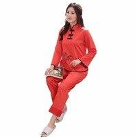 Chiński Elementem Piżamy Garnitur Red Ladies Satin Nowością Hafty i Przycisk D124-014 Piżamy Zestaw Piżamy Piżamy ML XL XXL