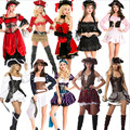 2017 new Sexy Women Pirate Costume high quality Cosplay Buccaneer Halloween Women Pirate dress Multicolor Female Pirate Costumes