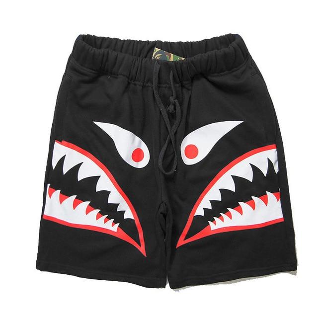 BAPE shorts Men Hip Hop Street Camouflage shark shorts Sports Cotton Painted Drawstring mens Camo bape shark head short 2015