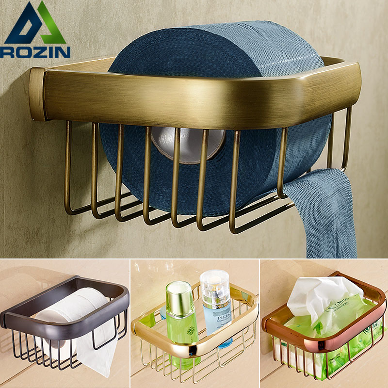 Multi Colors Brass Wall Mount Bathroom Basket For Roll