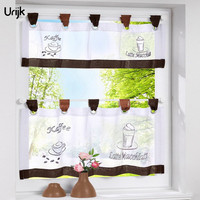 Urijk 1PC Coffee Color Half Curtain For The Kitchen Cabinet Window Valance Curtains Short Pastoral Style