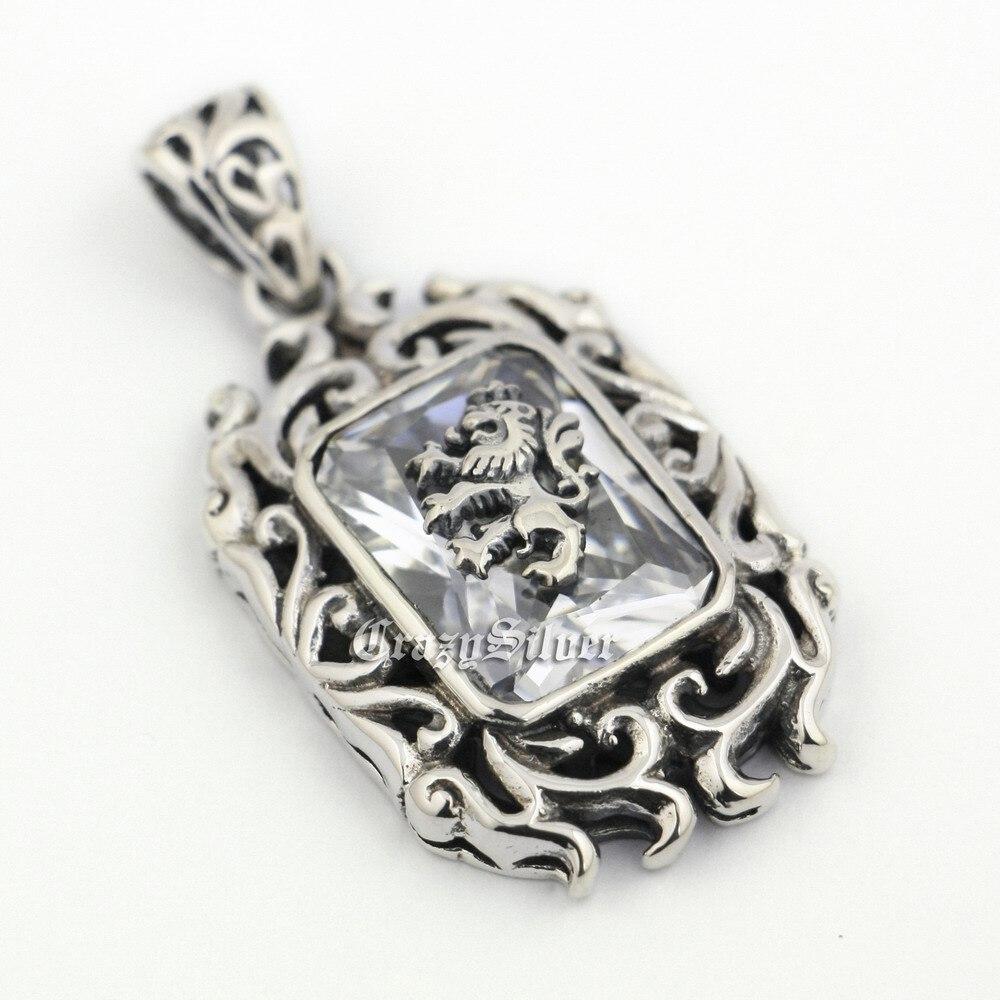 LINSION 925 Sterling Silver Lion On White CZ Stone Mens Biker Rocker Punk Pendant 9R019 925 sterling silver lovely dumbo white cz stone pendant 9s107a 92 5