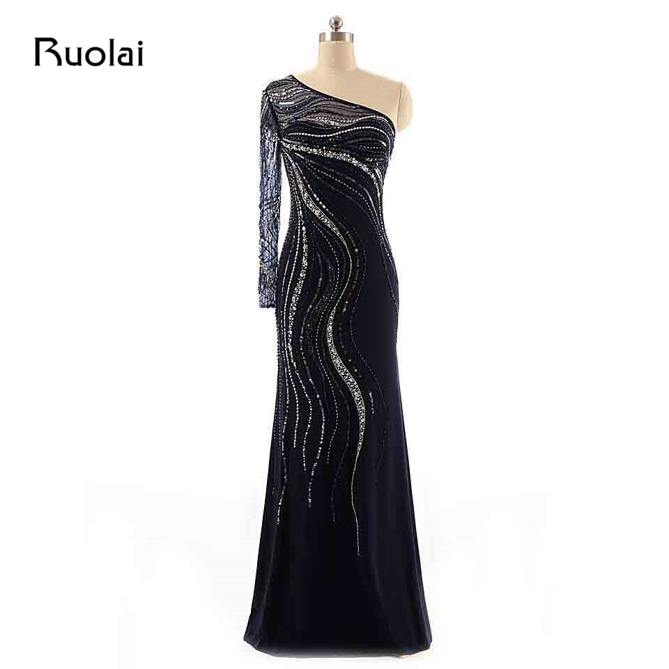 Real One Shoulder Long Sleeves Luxury Beaded Crystal Mermaid Evening Dresses 2019 Dark Blue Prom Dresses