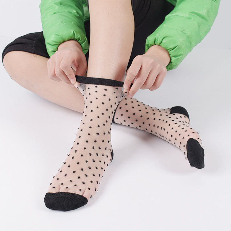 Sexy Lace Mesh Fishnet Socks Mixed Fiber Transparent Stretch Elasticity Ankle Net Yarn Thin Women Cool Socks 1pair=2pcs ws403