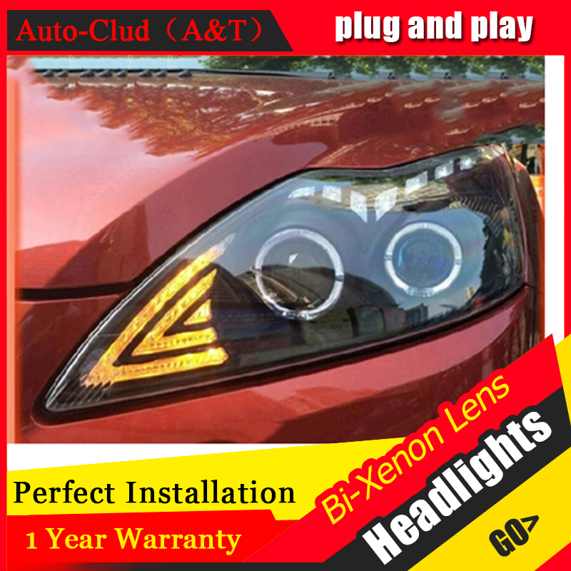Auto Clud For ford focus headlights 2009-2014 Bifocal lens led bar Angel Eyes DRL xenon H7 For Ford Focus headlamps car styling 1 pair front bumper headlights headlamps rh lh for ford focus 2005