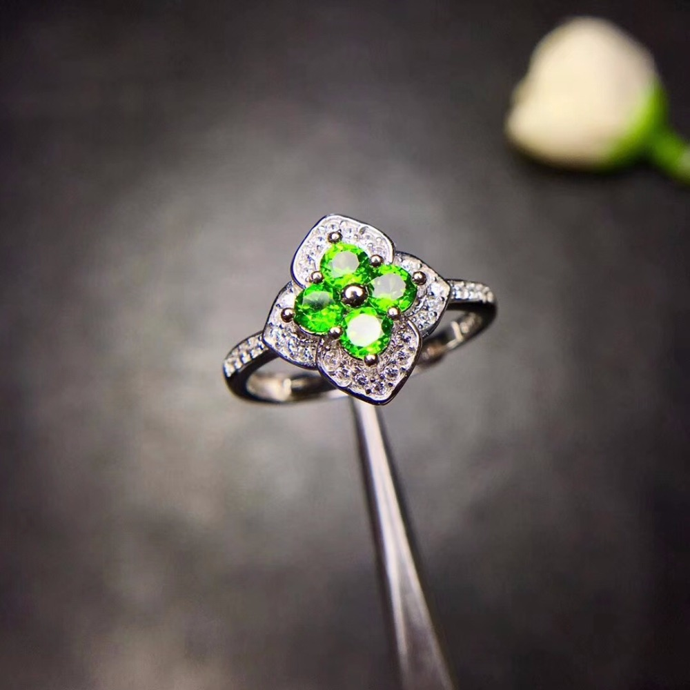 Women s Natural Green Diopside Rings 925 Sterling Silver 3 3mm 4Pcs Gemstone Promise Jewelry with