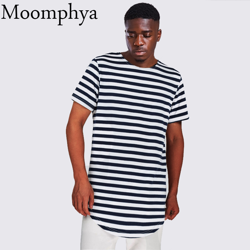 387e095ca872d Moomphya Men striped curve hem t shirt extended longline hipster t-shirt  fashion street wear