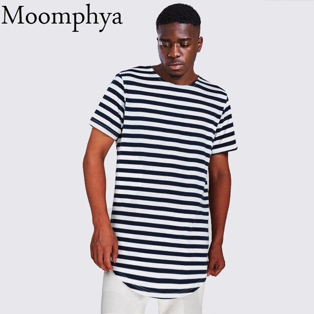lowest price 6af73 480e8 Moomphya Männer gestreiften kurve rand t-shirt extended longline hipster t- shirt fashion street