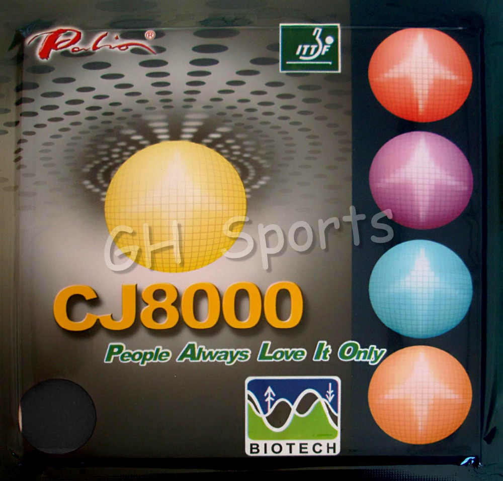 Palio CJ8000 BIOTECH (Short-Middle Court, Loop+Attack) Pips-In Table Tennis (PingPong) Rubber With Sponge (2.2mm, 40-42degree)