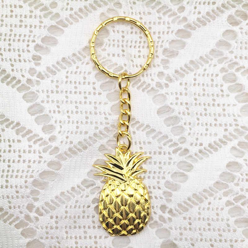 50 sztuk/partia spersonalizowany ślub pamiątki Party prezenty dla gości złoty ananas brelok z karta z podziękowaniami