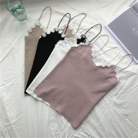 Crop Tops Women Four Colors Chic Sexy Solid Lace Fitness Bra Straps Crop Tank Tops Stretch
