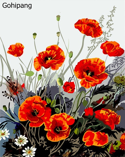 Frameless Pictures on wall acrylic painting by numbers linen painting art Christmas gift coloring by numbers Red Poppy