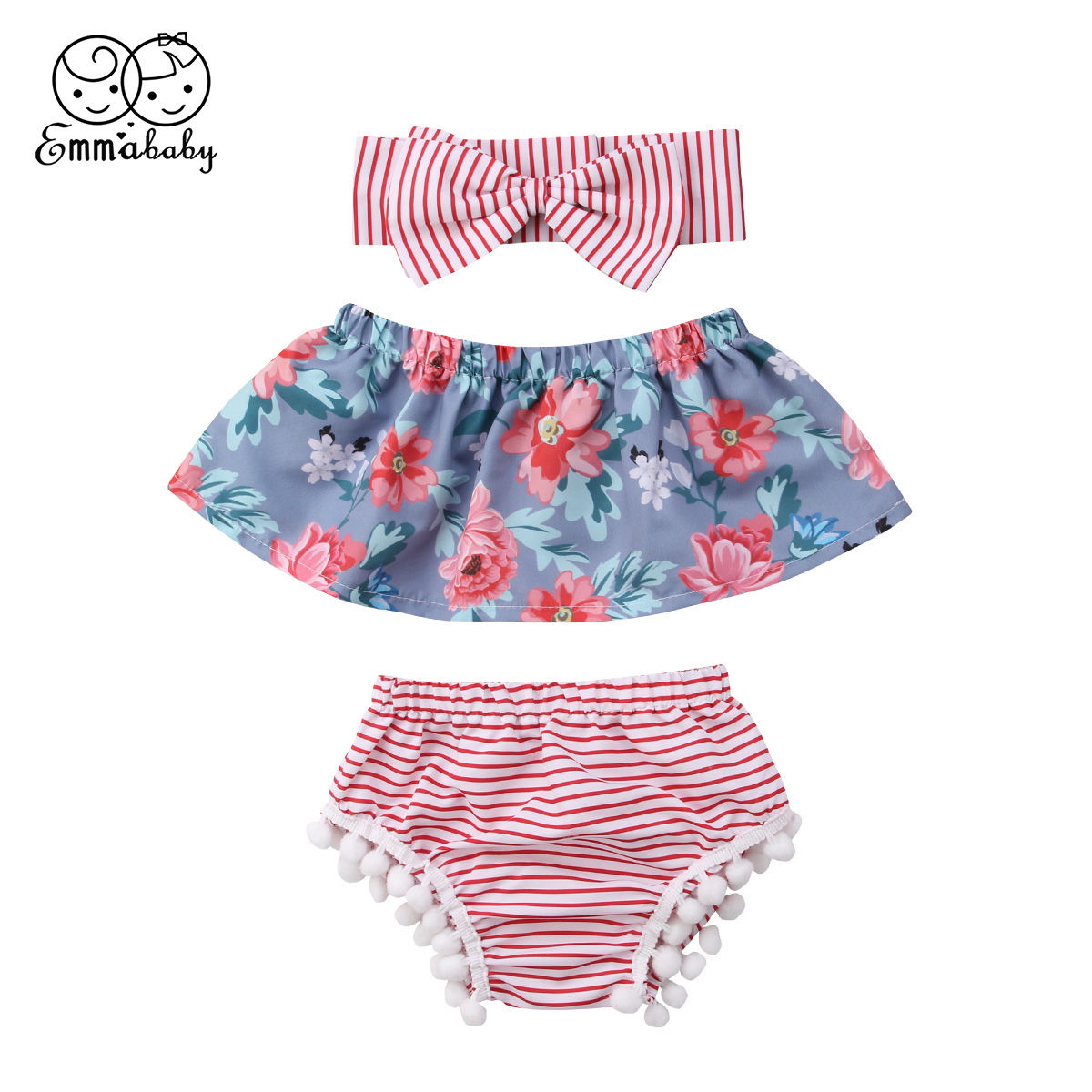 Emmababy Newborn Baby Gils Off Shoulder Tops +Stripe Shorts+Headband Outfits Set 3pcs ...