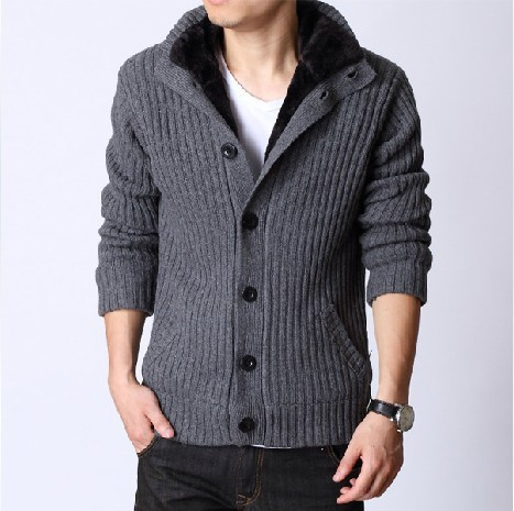 Online Shop Thick Mens Sweaters 2015 New Arrival Solid Cardigan ...