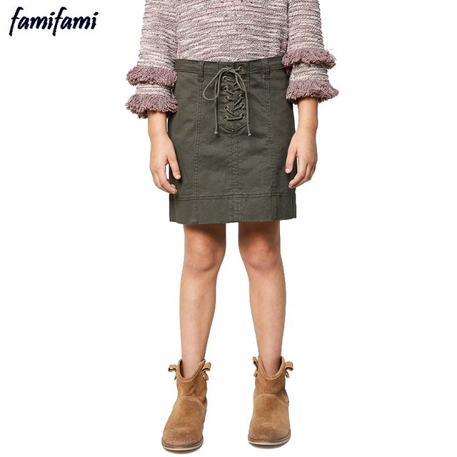 FAMIFAMI Teen Girls Jeans Skirt Kids Casual Solid A Line Mini Denim Skirts Children's Brand Clothes 2017 Spring Summer New