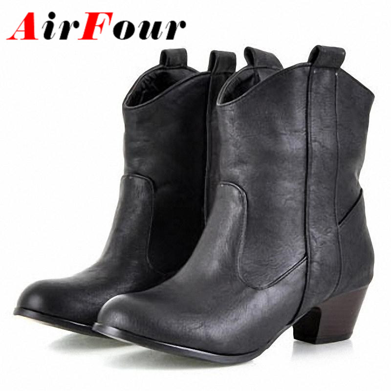 ФОТО Airfour Women Boots New  Winter Boots Warm Shoes Winter Fashion Ankle Boots Size 34-43 Yellow Black Brown Color Boots Women
