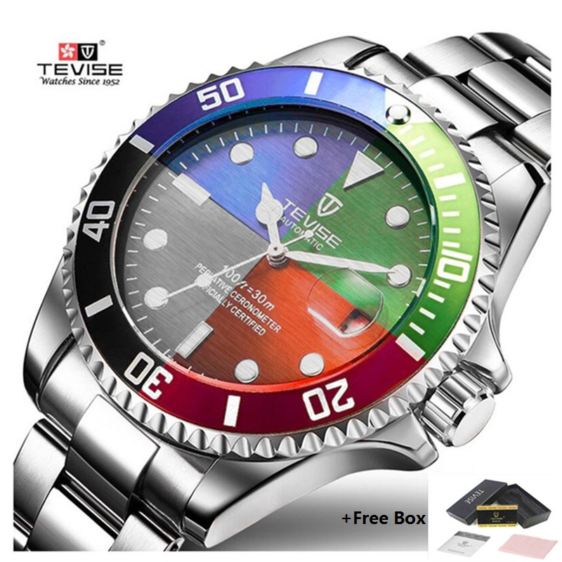 Tevise Waterproof Men Mechanical Watch Automatic Role Date Fashion Watch Men Luxury Top Brand Steel Male Clock Relogio Masculino tevise fashion sport automatic mechanical watch men top brand luxury male clock wrist watches for men relogio masculino t629b
