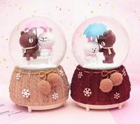 Choice Gift umbrella play small coffee bear crystal ball music box pieces floating snow with lamp water ball children gift 1PC