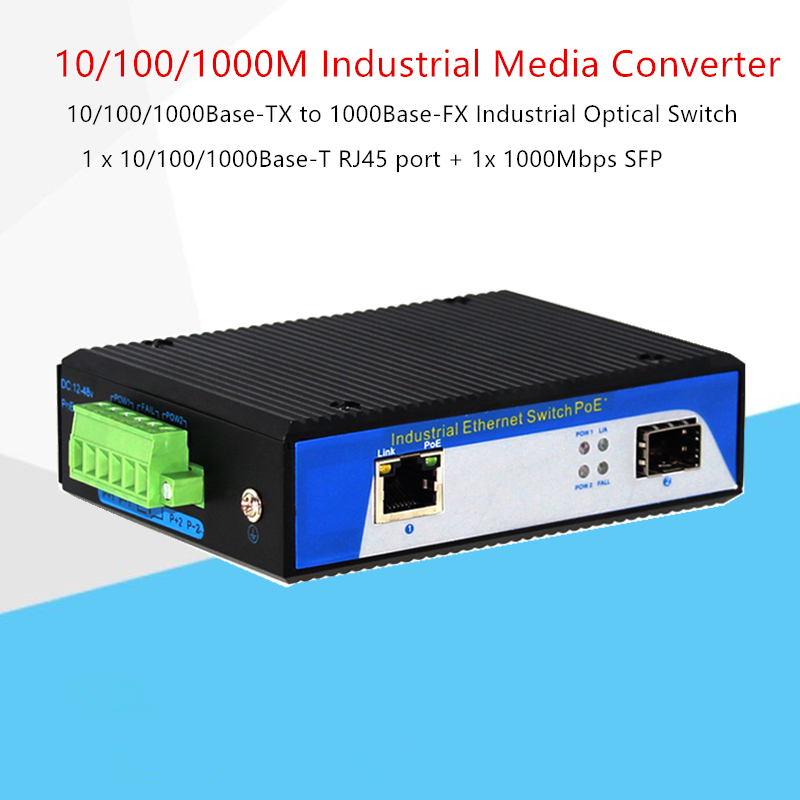 10/100/1000Base-TX to 1000Base-FX Industrial Optical Switch with SFP solts  1 x 10/100/1000Base-T RJ45 port + 1x 1000Mbps SFP10/100/1000Base-TX to 1000Base-FX Industrial Optical Switch with SFP solts  1 x 10/100/1000Base-T RJ45 port + 1x 1000Mbps SFP