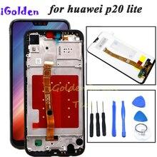 Digitalizador de touchscreen para huawei p20 lite, montagem com moldura para huawei p20 lite ANE LX1 ANE LX3 nova 3e lcd
