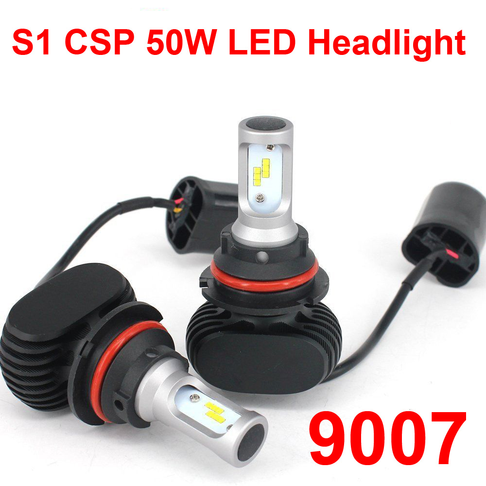 1 Set 9007 HB5 S1 50W 8000LM LED Headlight Slim Conversion Kit High/Low Beam Seoul CSP Y19 Chips Fanless All-in-one White 6000K