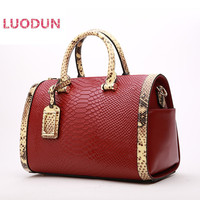 LUODUN 2018 new cowhide handbag explosions Boston handbags snake pattern shoulder Messenger split Leather ladies bag
