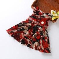 2017 la venta caliente Del Otoño vestido con la correa del arco vestido de los niños niñas nuevo camuflaje cotton100 % princesa del bebé del estilo occidental ropa