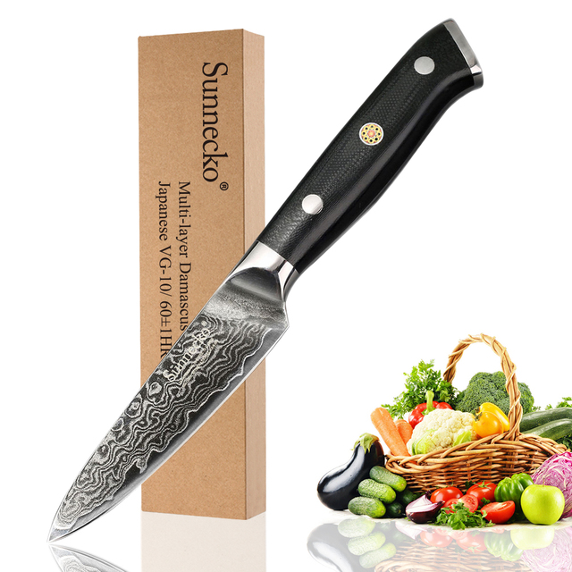 "SUNNECKO Premium 3.5"" inch Paring Knife Damascus Steel Kitchen Knives Japanese VG10 Blade Razor Sharp Fruit Cutter G10 Handle"