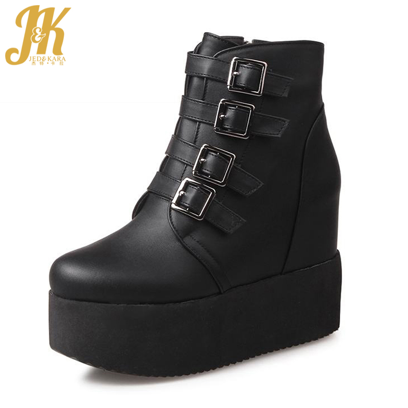Plus Size 34-43 2017 Buckle High Heels Platform Shoes Woman Ankle Boots Height Increasing Fall Winter Boots For Women Footwear plus size 34 47 elegant thick high heels buckle short boots lace up skid proof platform motorcycle fall winter shoes woman