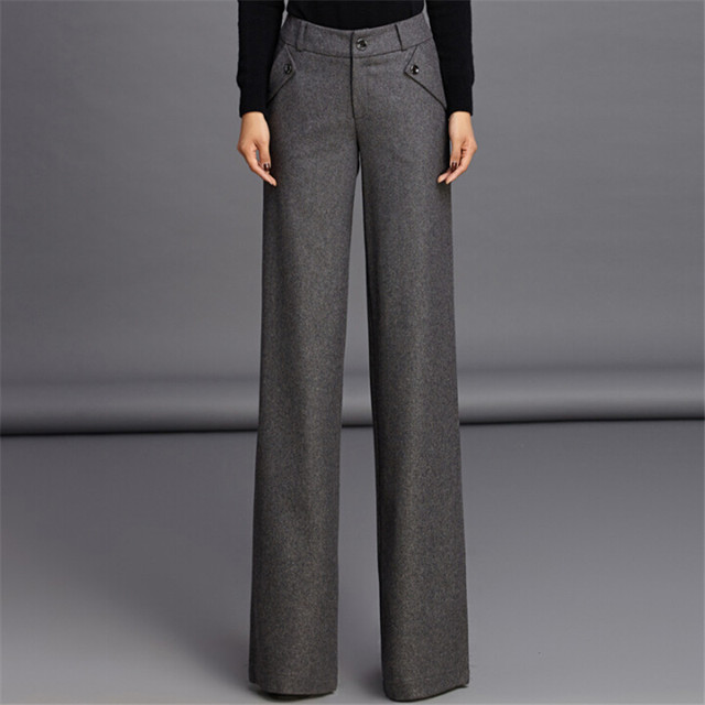 S-3Xl Plus Size Women Straight Pants For Office Fashion Wool Thicken Autumn And Winter Trousers For Women Pants W1302