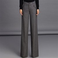 S 3Xl Plus Size Women Straight Pants For Office Fashion Wool Thicken Autumn And Winter Trousers For Women Pants W1302