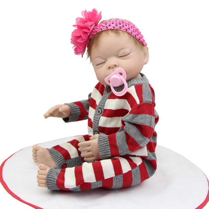 20 Inch Sleeping Reborn Babies Girl Dolls Lifelike Alive Newborn Baby Doll Full Silicone Vinyl Realistic Toy Kids Birthday Gift can sit and lie 22 inch reborn baby doll realistic lifelike silicone newborn babies with pink dress kids birthday christmas gift