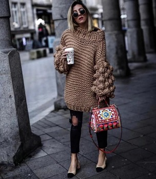 Chunky Knit Sweater2018 Warm Winter Sweater Women Loose Hand Knitted Sweaters Lantern Sleeve Bohemian Pullover Thick Sweater lantern sleeve plain pullover sweater