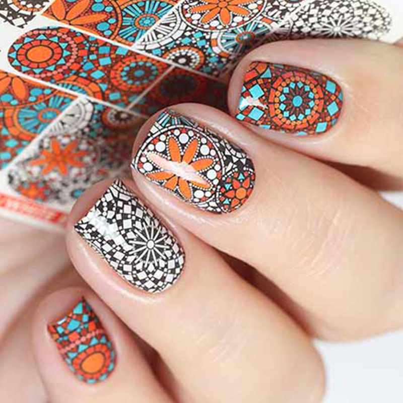 ZKO 1 Sheet Russian Retro Colorful Artistical Printing Designs Full Wraps Nail Art Sticker Water Transfer Manicure Decals free shipping new 2017 hot 13 single pure color series classic collection manicure nail polish strips nail wraps full nail sheet