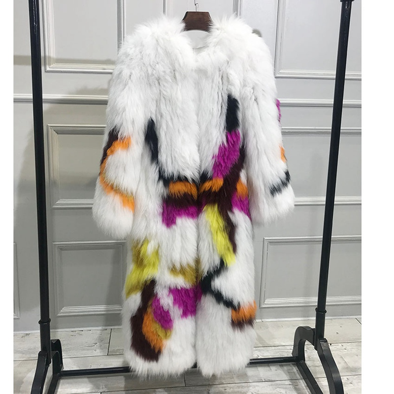 Mode Capuche En Avec Naturel Manteau Nouvelle Longue Outwear Automne Réel Pour Hiver Picture 2018 Tricoté Manteaux De Véritable Femme Color Fourrure Renard lFcTJuK13