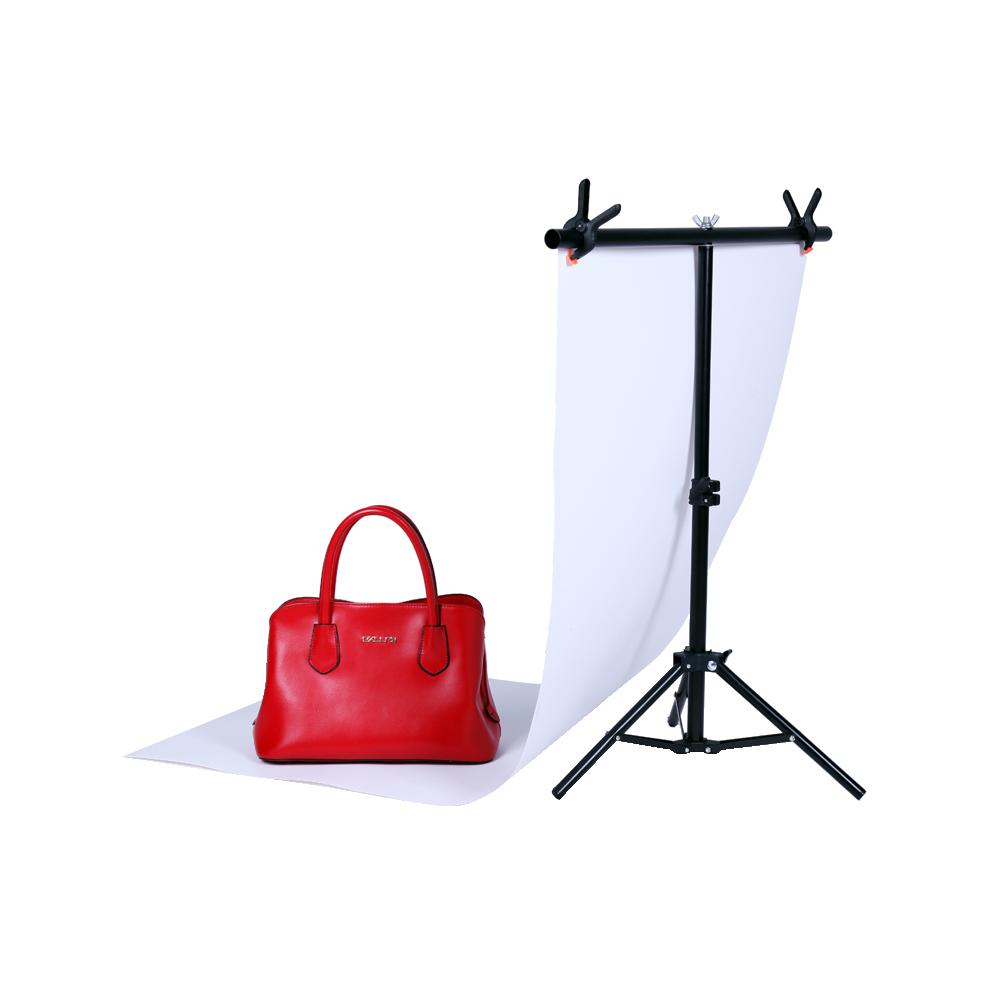 Prix pour Photographie Petit 76*68 CM PVC Backdrop Soutien Stand Système T-Cadre Lumière Stand Avec 2 PCS 3.5 ''Pince