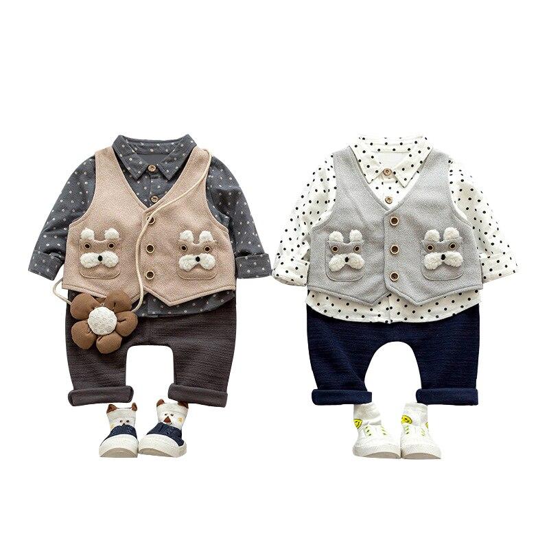 Formal Baby Boys Suits Long Sleeve Cotton shirts+cartoon vest Jacket+Leisure Long Pants Lovely 3Pcs Toddler Boys Tracksuit set cotton cartoon t shirts