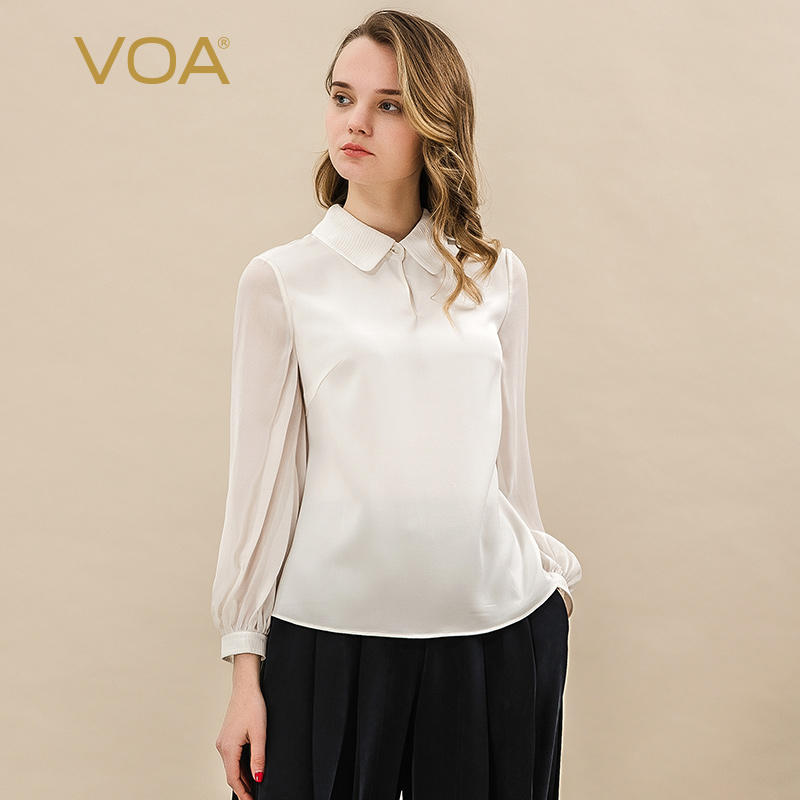 VOA Pure White Silk POLO Collar Shirt Sleeve Long Sleeve Splice Tuck Pleat Simple Wild Models POLO Female B9017