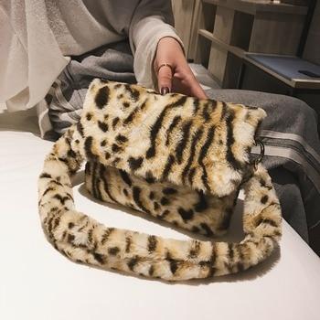 Women Winter Faux Fur Shoulder Bag Fashion Handbag lady Leopard print Handbags Female Party Small Girls Tote Bag Christmas Gift handbag