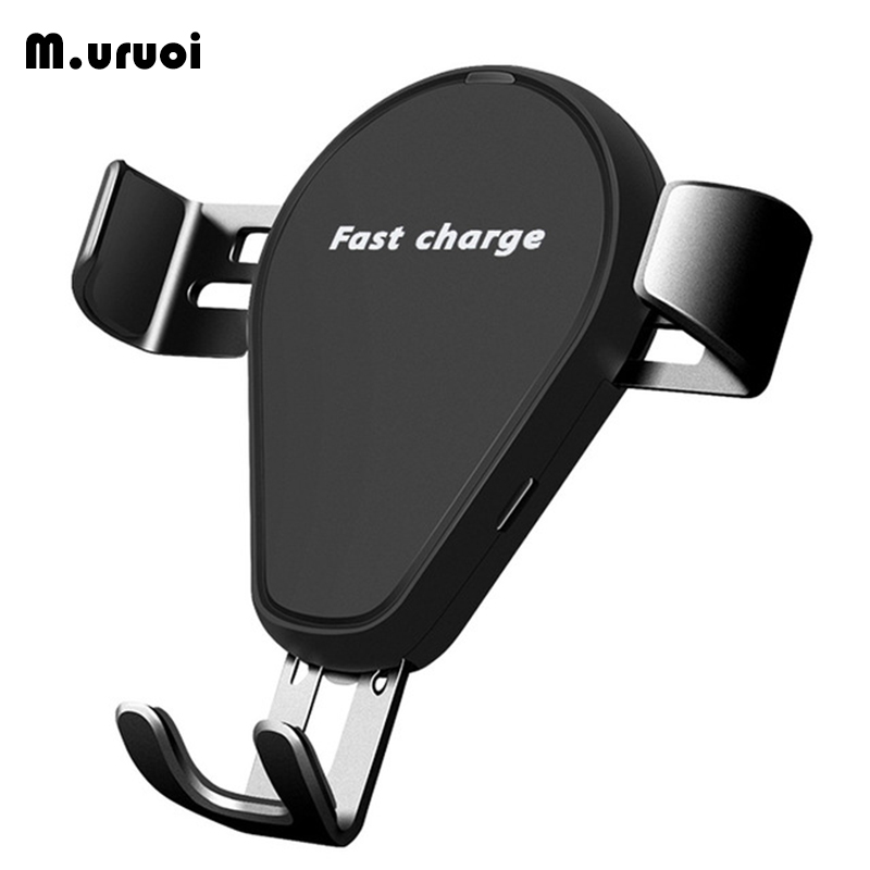 M.uruoi 10W Wireless Car Charger Gravity Locks Fast Charging Phone Holder Mount in Car for iPhone Samsung Qi Wireless Charging