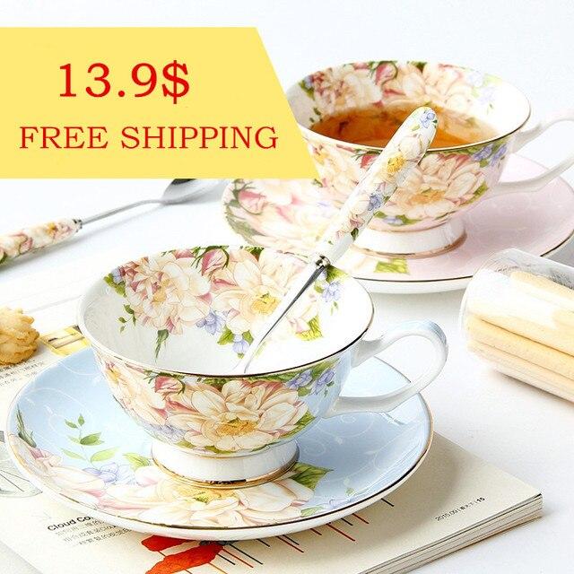 Fashion British Style Bone USA Coffee Cup and Saucer Set with Spoon Ceramic Coffee Mug Flower Tea Cup