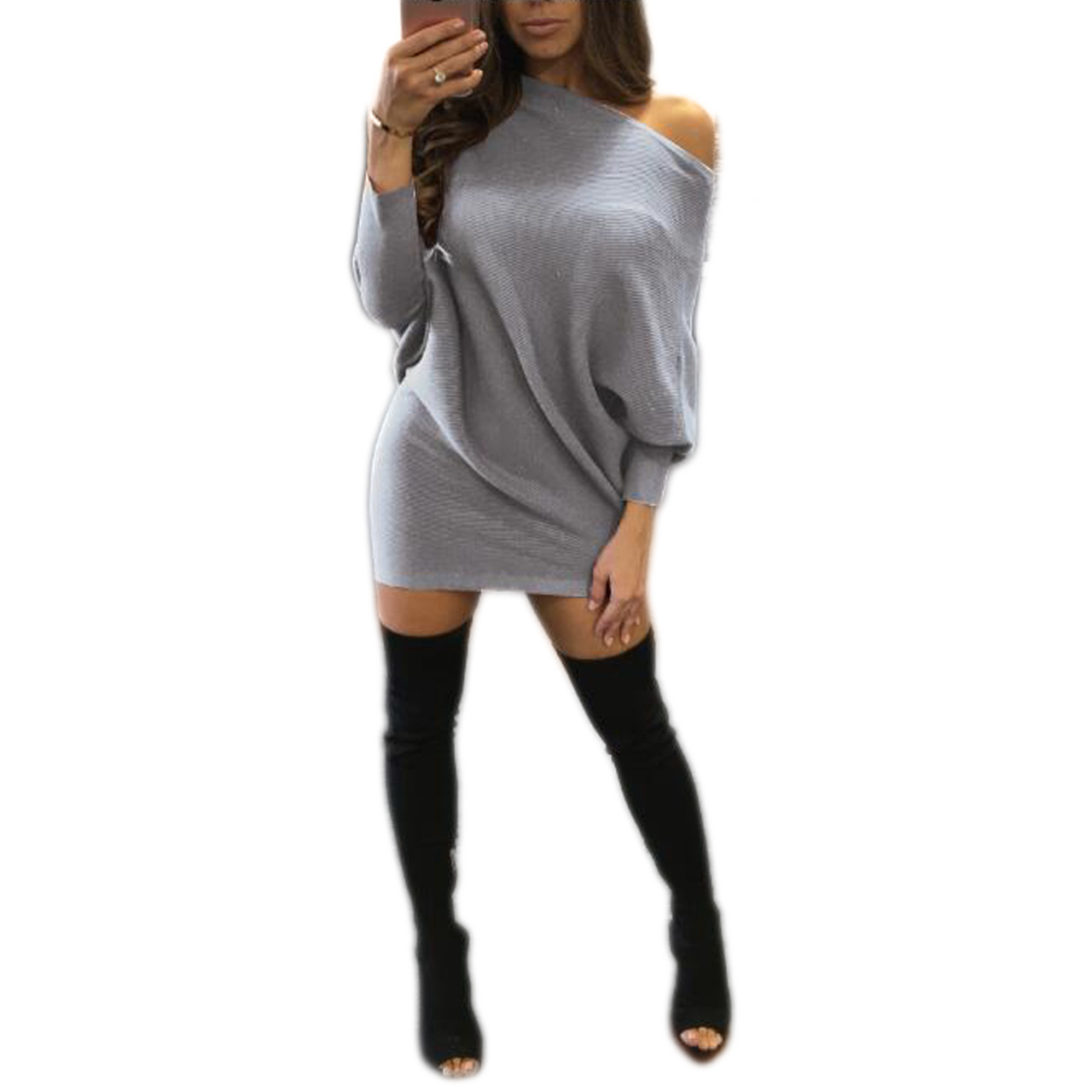 Autumn Sweater Dress Bandage Velvet Dresses Bat Sleeve
