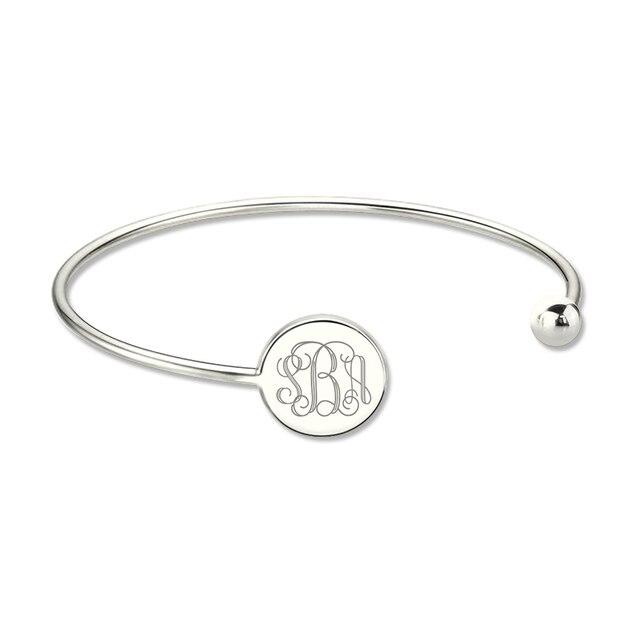Whole Sterling Silver Monogram Bangle Bracelet Engrave Disc Monogrammed Initial Adjule Birthday Gift